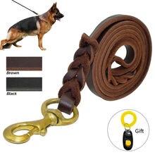 Плетеный Кожаный Поводок Собаки Военного Класса Пэт K9 Обучение Поводок ведущий Для Средних и Крупных Собак Подарок Собак Trainng Clicker