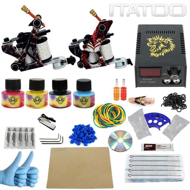ITATOO Plumas Kit de Tatuaje Barato Set Máquina De Tatuaje Kit de Tatuaje Ametralladora de Tinta Suministros De Joyería Arma Profesional TK100002