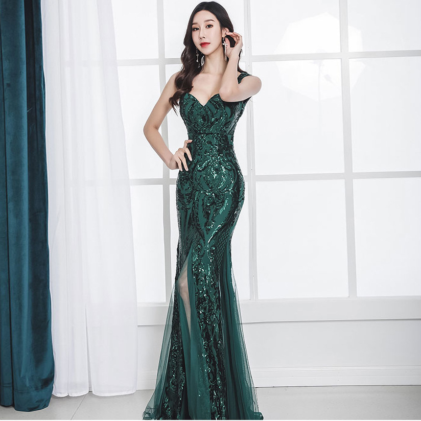 Beauty Emily Sling V Neck Burgundy Evening Dresses Sequins Rhinestones Pleated Lace Party Dress Split Prom Gowns Robe De Soiree