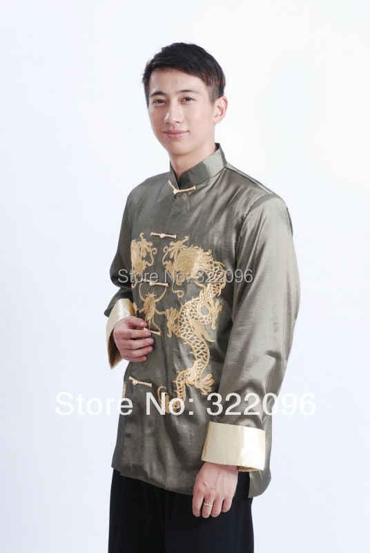 Шанхай история длинный рукав Тан костюм Топ Китайский традиционный двойной дракон одежда Тан рубашка Мандарин воротник куртка Зеленый