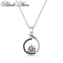 Серебряное ожерелье из натуральной 925 пробы, серебряные ожерелья и подвески, ювелирные изделия, трендовые черные и ожерелье из белых камней для женщин P085