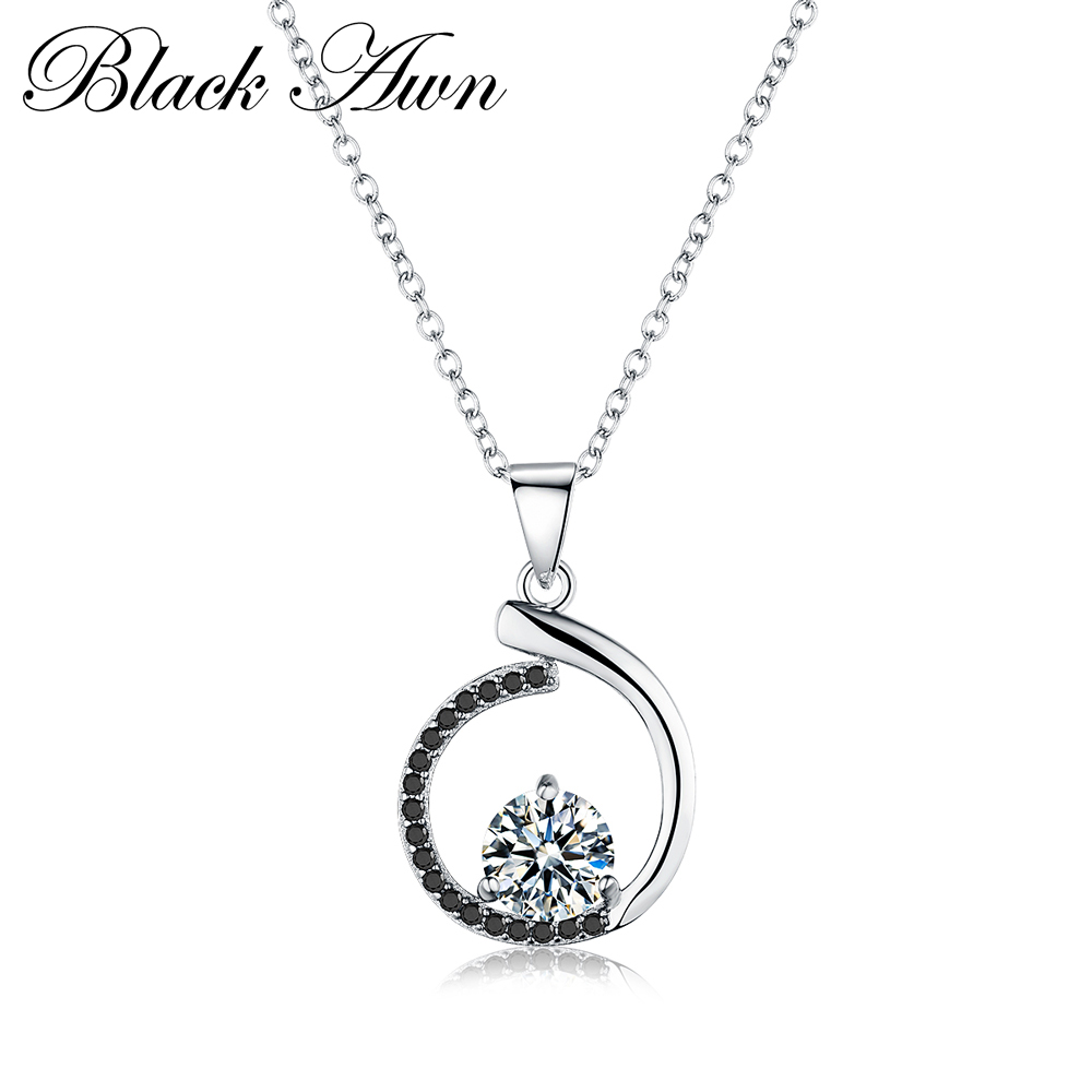 Silver Necklace Genuine 925 Sterling Silver Necklaces&Pendants Jewelry Trendy Black&White Stone Necklace Women P085