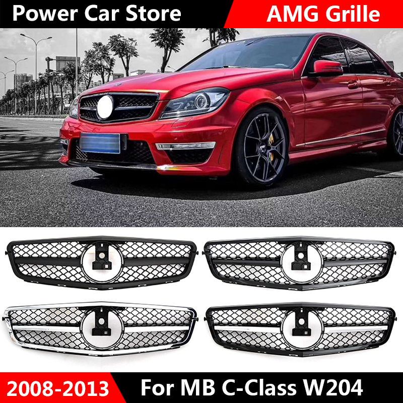 New style W204 AMG C63 Grille for Mercedes W204 C Class front bumper racing grille C180 C200 C250 C300 fashion look 2008 2014