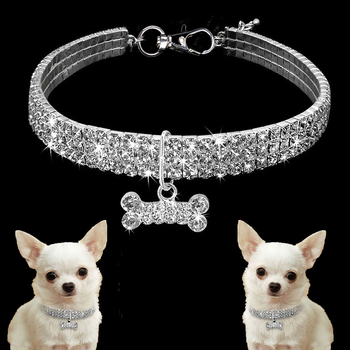 Collar de perro de cristales brillantes para mascotas, Collar de diamantes de imitación, collares para perros pequeños, suministros S/M/L