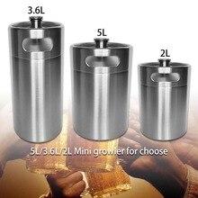 2.0/3.6/5L Large Capacity Stainless Steel Outdoor Kitchen Steels Beverage Pot Barrel Beer Wine Keg Container Bucket