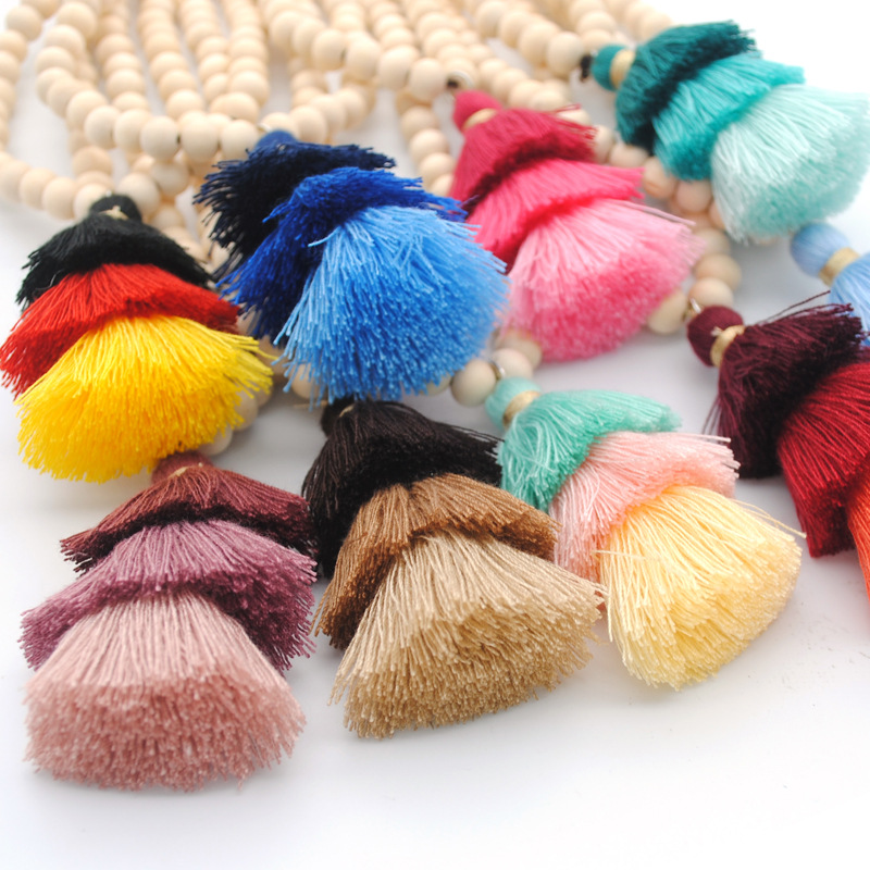 1pc Multi Color Tassel Bead Toys Bohemia Fringe Wood Bead Necklaces Colorful DIY Kids Toy Gift SYT9475