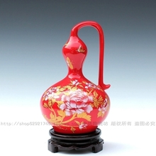Jingdezhen ceramic vase modern fashion red bottle gold peony lucky gourd