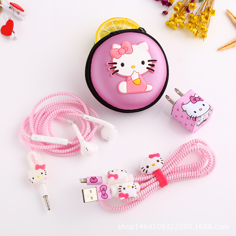 Beautiful Cute Cartoon USB Cable Earphone Protector Set With Winder Stickers Spiral Cord For iphone 5 6 6s 7plus