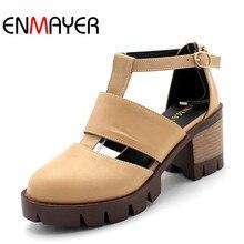 ENMAYER летние крутые модные спортивные босоножки женские сандалии с Т-образным ремешком на среднем каблуке 4-х цветов мягкая кожаная обувь на плоской подошве размер 34–43