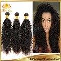 Бразильский вьющиеся волосы девственные афро кудрявый вьющиеся волосы девственные 3 шт. натуральный черный выдвижение человеческих волос, Мягкие волосы вьющиеся переплетения