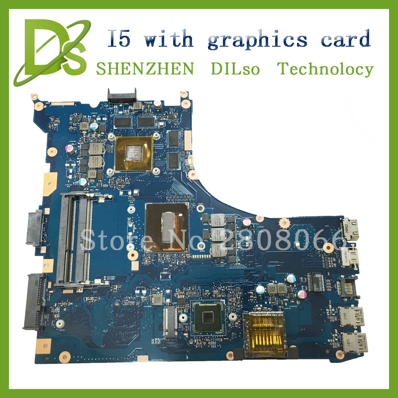 For ASUS GL552JX ZX50J laptop motherboard GL552JX mainboard rev2.0  i5 cpu onboard with Graphics card for asus k56ca k56cm rev 2 0 laptop motherboard with i7 cpu onboard gm integrated graphics ddr3 100% tested