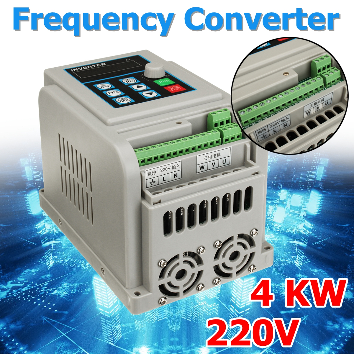 AC 220 V convertisseur de fréquence 4KW variateur de fréquence Convertisseur VFD régulateur de vitesse Convertisseur
