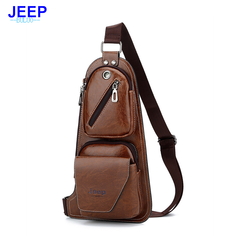 Hengsheng Jeep Men Leather Chest Bag For Fashion Men Usb Waist Bag Men Shoulder Bag With Quality Pu Leather Men Crossbody Bags