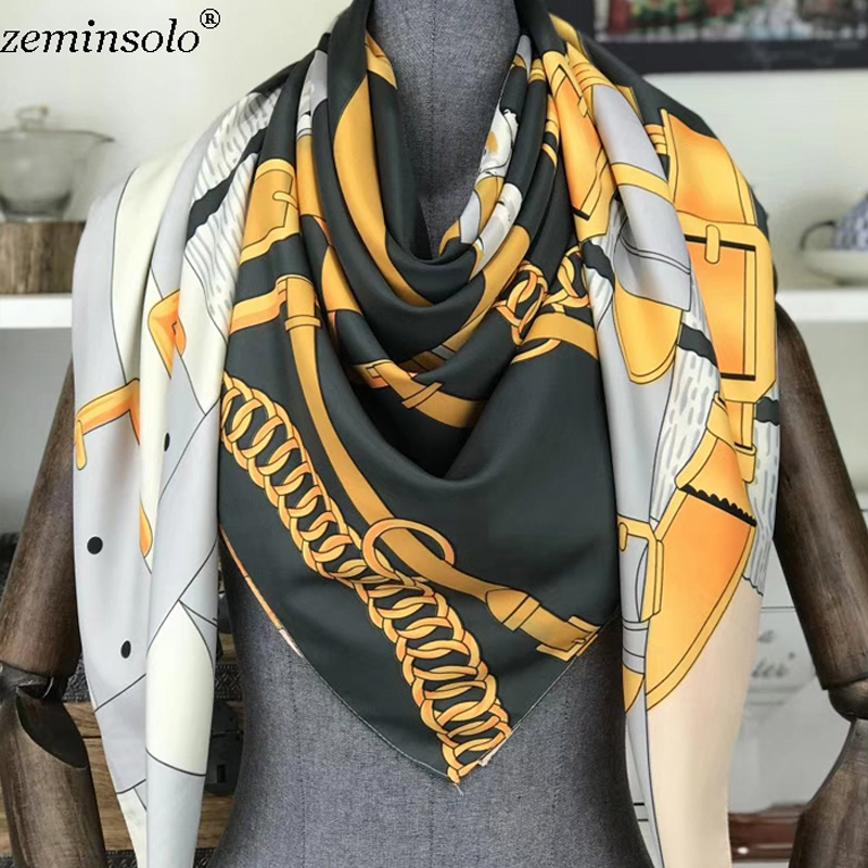 Women Silk Scarf Chain Print Square Head Scarves Wraps Luxury Brand Quality Female Foulard Satin Scarves Shawls Hijab 130*130cm