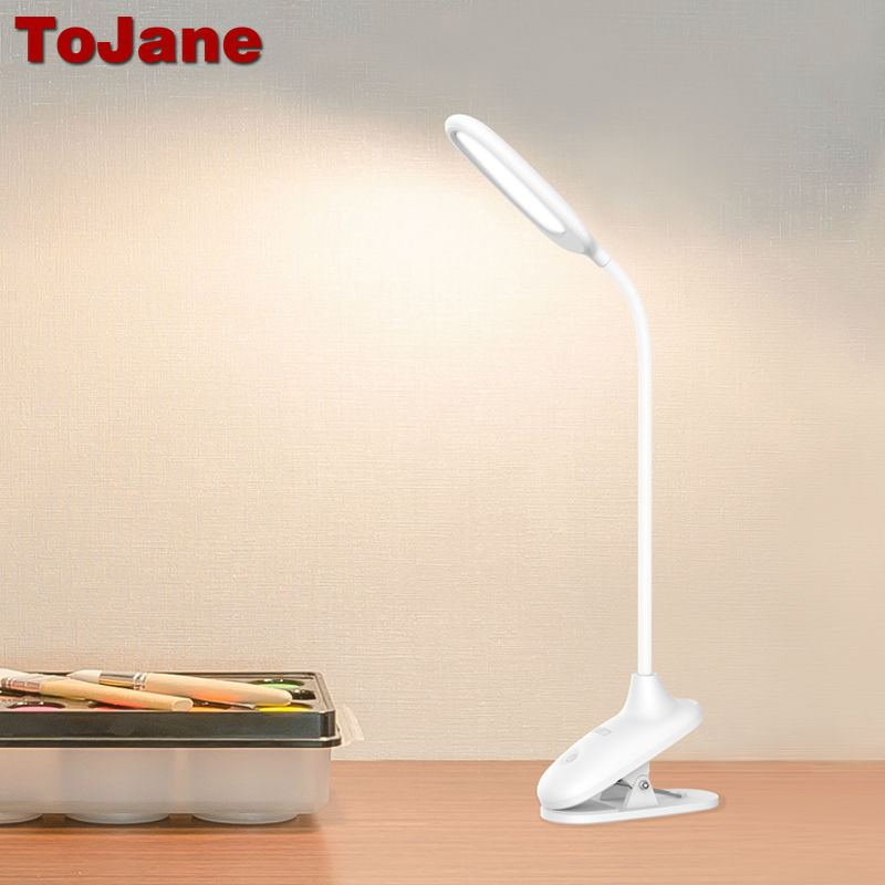 ToJane LED Desk Lamp Dimmable TG108-CJ Clip On Clamp Reading Light Gooseneck Tube Touch Control USB Rechargeable 1500mah Battery цена