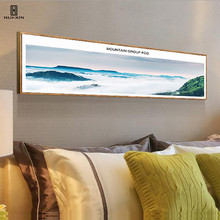 Nordic Concise style Decorative Canvas Posters Paintings Of Mountain Group Fog Green Through For Room Decor