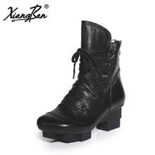 цена Xiangban 2019 pointed women platform boots black genuine leather motorcycle boots women lace up 236K77 онлайн в 2017 году
