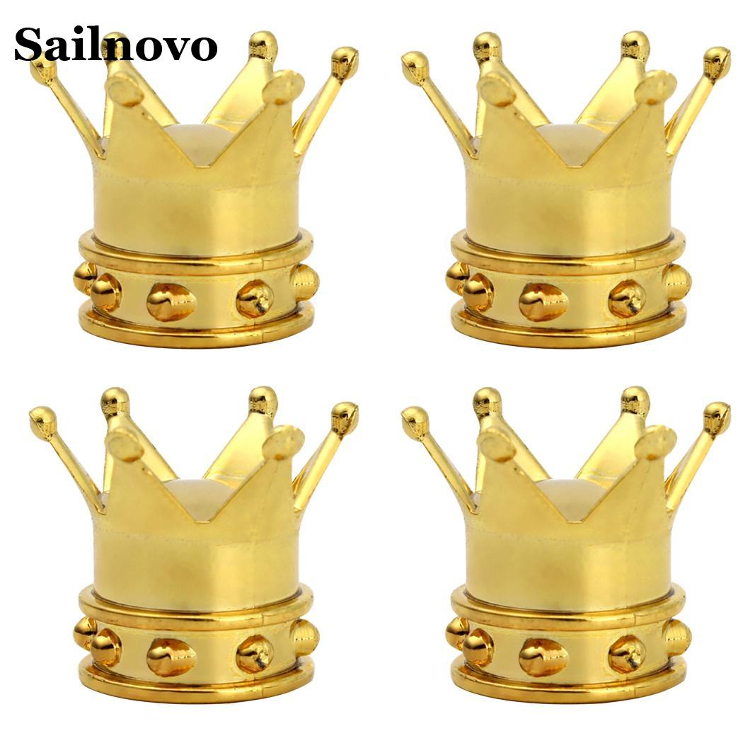 4x Gold Crown Car Truck Tire Air Valve Stem Cover Caps Wheel Rims Unique Hot New