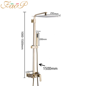 Image 2 - FAOP Shower system gold bathroom shower sets brass waterfall shower heads faucet for bathroom mixer luxury rainfall faucets