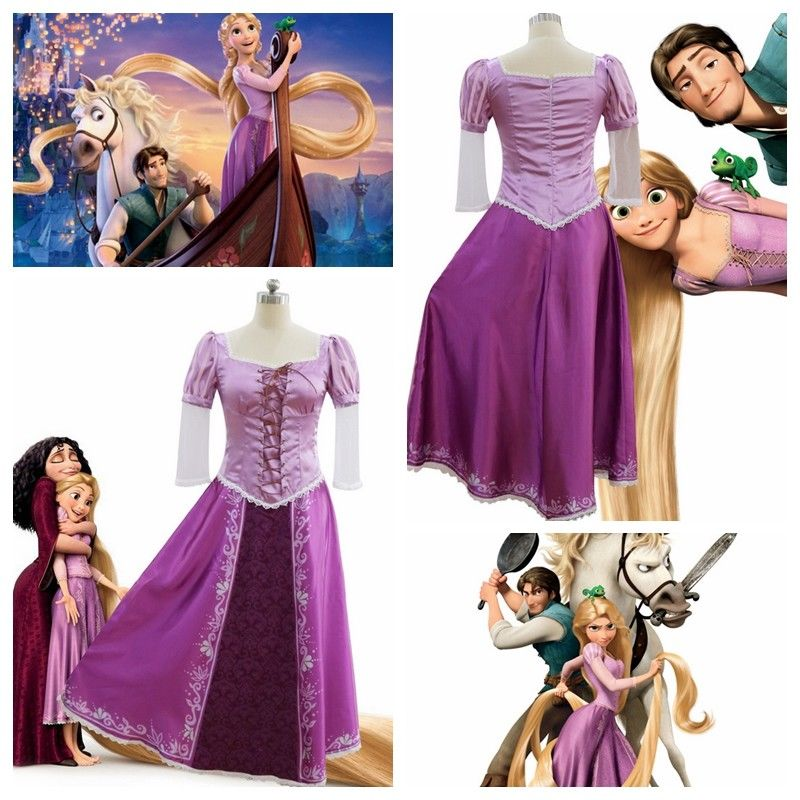 Adult Tangled Rapunzel Princess Cosplay Costume Purple Outfit Fairytale Dress Women Rapunzel Fancy Dress