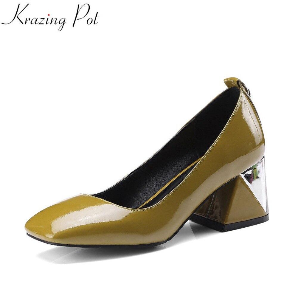 Krazing Pot pop office lady design mature spring brand large size solid high heel slip on metal decration women pumps shoes L90 2018 office women high heel pumps solid