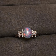 Adjustable Rose Gold 925 Sterling Silver Natural Fire Opal Woman Ring With Certificate