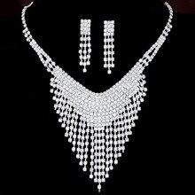 Korean Wedding Jewelry Set Rhinestone Crystal Necklaces Earring Set Stud Bride Jewelry Sets for Bridal Wedding Accessories
