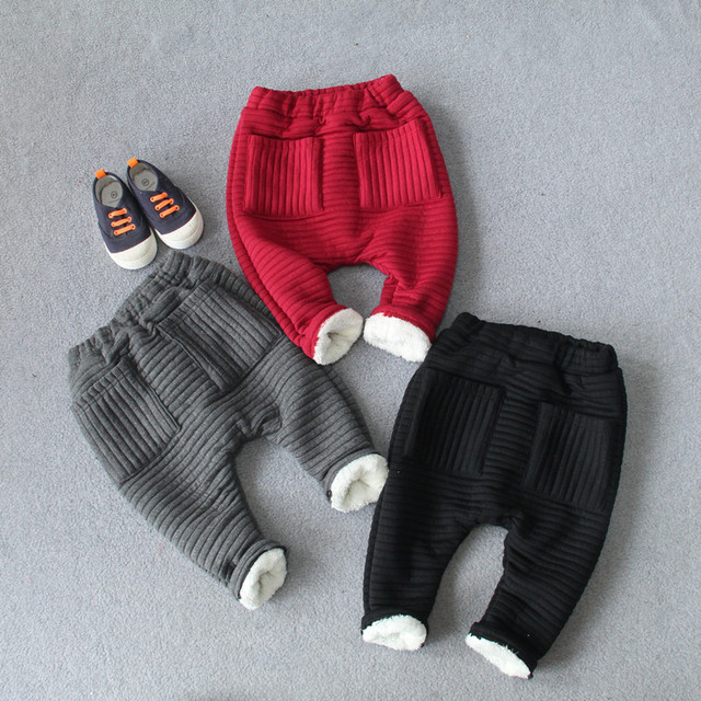 Baby Children Thicken Cotton Harlan Pants Solid Color 2016 Winter New Warm Lace Knitted Trousers for Boys and Girls 4 Colors