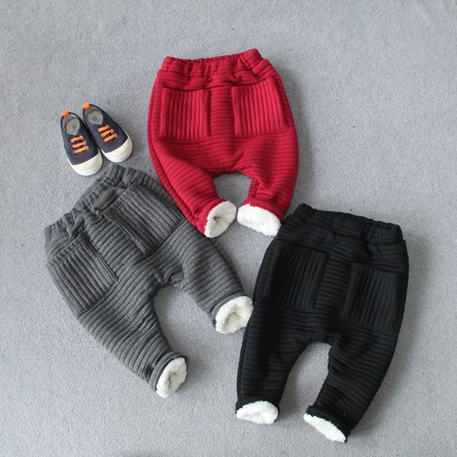Los Niños del bebé Espesar Algodón Harlan Pantalones de Color Sólido 2016 de Invierno nuevo Cordón Caliente Pantalones de Punto para Niños y Niñas 4 colores