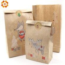 12 pçs/lote 2 tamanho kraft caixas de doces de papel natal presentes suprimentos caixas de embalagem convidados feliz natal favor festa decorações