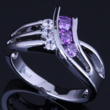 Enjoyable Purple Cubic Zirconia White CZ 925 Sterling Silver Ring For Women V0686