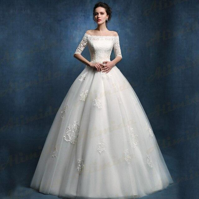 2017 Spring New Designer Elegant Wedding Dress Half Sleeve Bridal Gowns Off The Shoulder Robe De Mariage Custom Made Size