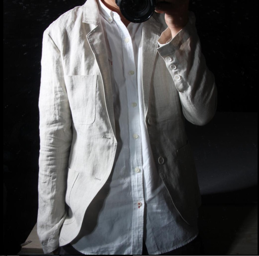 2017 summer New Blazers breathable linen suit business casual Slim small suit men casual cotton jacket singer costumes clothing