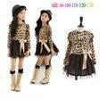 Otoño invierno de La Muchacha vestido de princesa leopard girls lace hem leopard print top de manga Larga vestido de los niños vestido de princesa menina