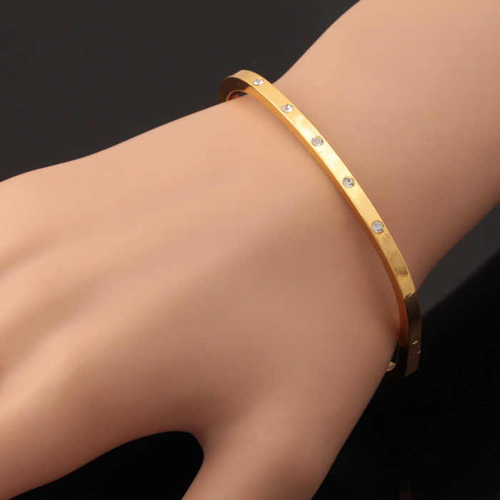 Kpop New Fashion Gold Color Austrian Rhinestone Cuff Bracelets High Quality Bangles For Women Jewelry Wholesale H5180
