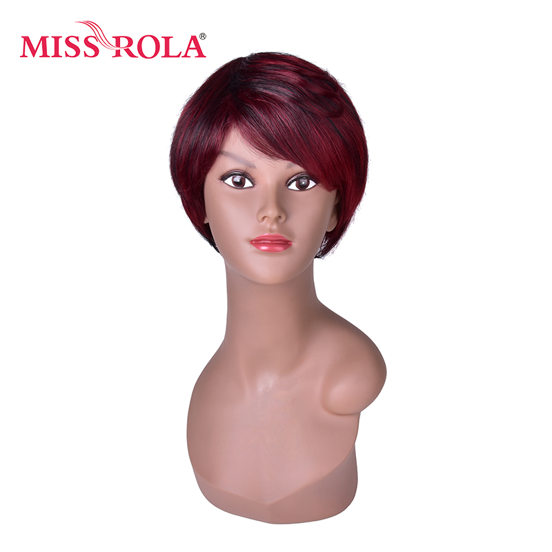 Miss Rola Red Short Synthetic Women Wigs with Black Strip Natural Straight Heat Resistant Party Full Wig 5inch