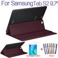 """Роскошные Стенд Смарт PU Кожаный Чехол для Samsung Galaxy S2 9.7 """"T810 T813 T815 T819 Tablet Case + Free Screen Protector + Pen"""
