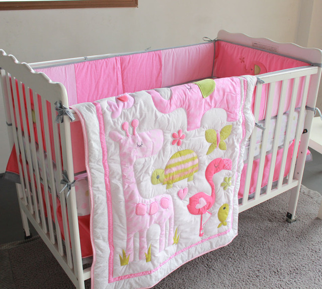 pink flamingo elephant animals 4pc baby girl crib bedding set cot set applique quilt bumpers sheet - Baby Girl Crib Bedding