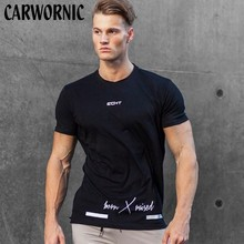 CARWORNIC Summer New Short Sleeve T-shirt Cotton Mens Gyms Fitness Workout T Shirt Male Casual Slim O-neck Tees Tops Clothing
