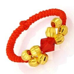 999 24K Yellow Gold Ring Women Weave + 8 PCS bead + Crystal SZ 6 Ring