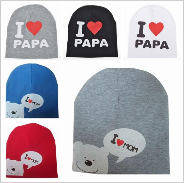 Warm Winter Autumn I Love Papa Mama Print Hat Newborn Crochet head cap baby  cartoon bear hat baby child Girl Boy Cap beanies 6dc9b0339095