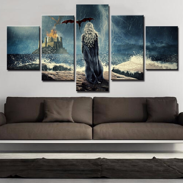 Modular HD Printed Canvas Pictures Home Decor Frame Poster 5 Pieces Game Of Thrones Paintings For Living Room Wall Art PENGDA 2