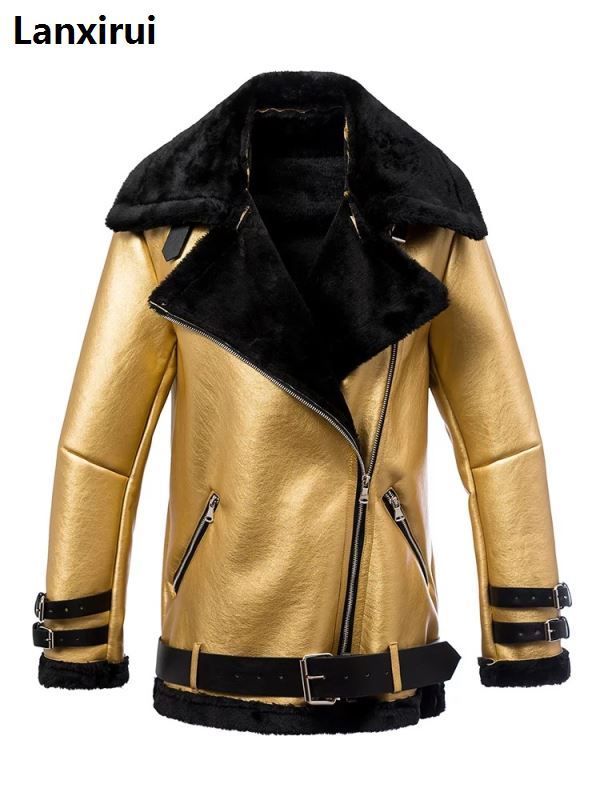 Autumn winter women pu tops casual belted leather outwear fur casual Thicken warm coat punk Lapel lamb wool black Gold jacket
