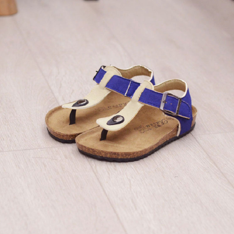 qloblo 2018 New summer childrens shoes boys sandals Cork sole kids footwear PU leather shoes cow cattle leather beach sandals