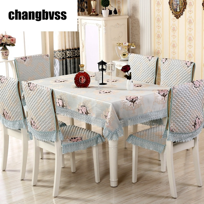 9pcs/set European Style Rectangular Table Cloth Lace Edge Tablecloth for Wedding Table Covers with Chair Covers Home Tablecloths9pcs/set European Style Rectangular Table Cloth Lace Edge Tablecloth for Wedding Table Covers with Chair Covers Home Tablecloths
