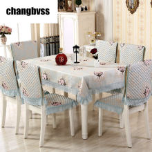 9pcs/set European Style Rectangular Table Cloth Lace Edge Tablecloth for Wedding Table Covers with Chair Covers Home Tablecloths(China)