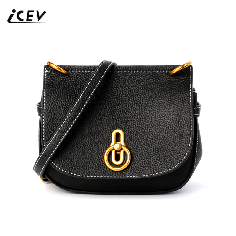 ICEV New Korean Fashion High Quality Simple Genuine Leather Saddle Crossbody Bags for Women Messenger Bags Cow Leather Handbags maihui designer handbags high quality shoulder crossbody bags for women messenger 2017 new fashion cow genuine leather hobos bag