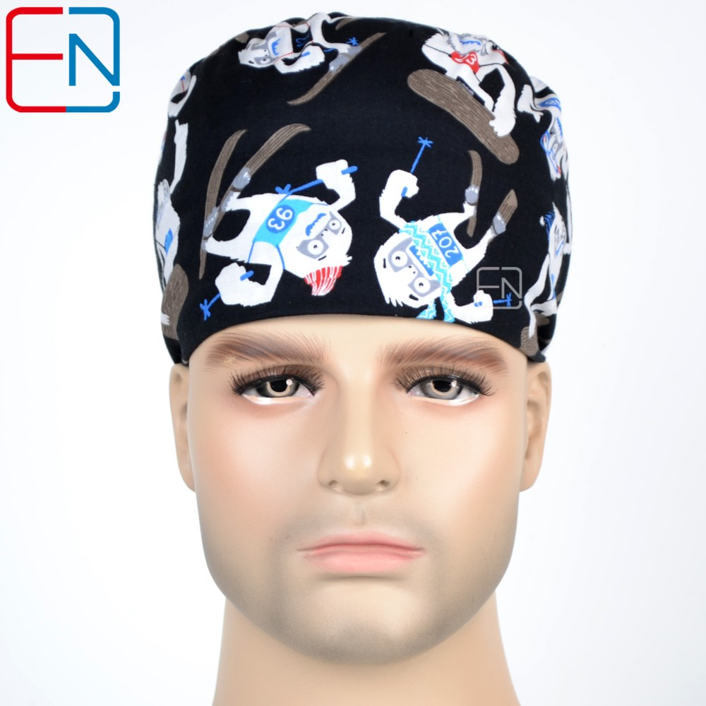 Factory Sales  Big Sales Medical Caps  In Different Patterns ,100%cotton Surgical Caps Storage Clearace Sale 3 Sizes Scrub Caps