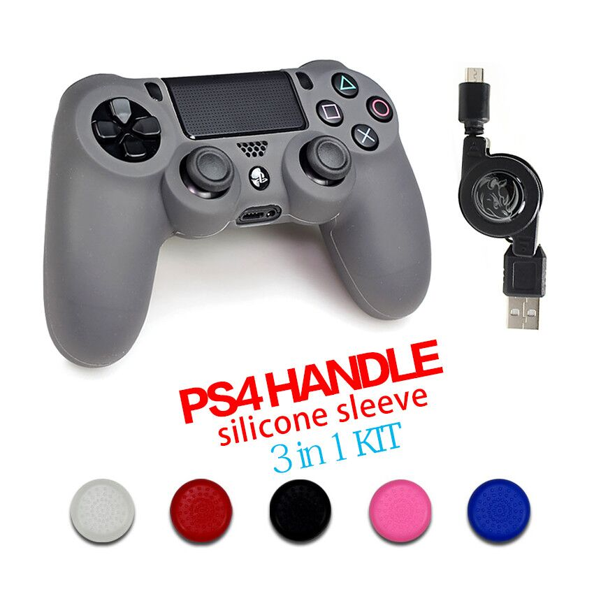 لوازم جانبی بازی PlayStation 4 PS4 Controller Silicone Rubber Cover + 5 قطعه پوشش چسب TPU کنترلر + یک کابل