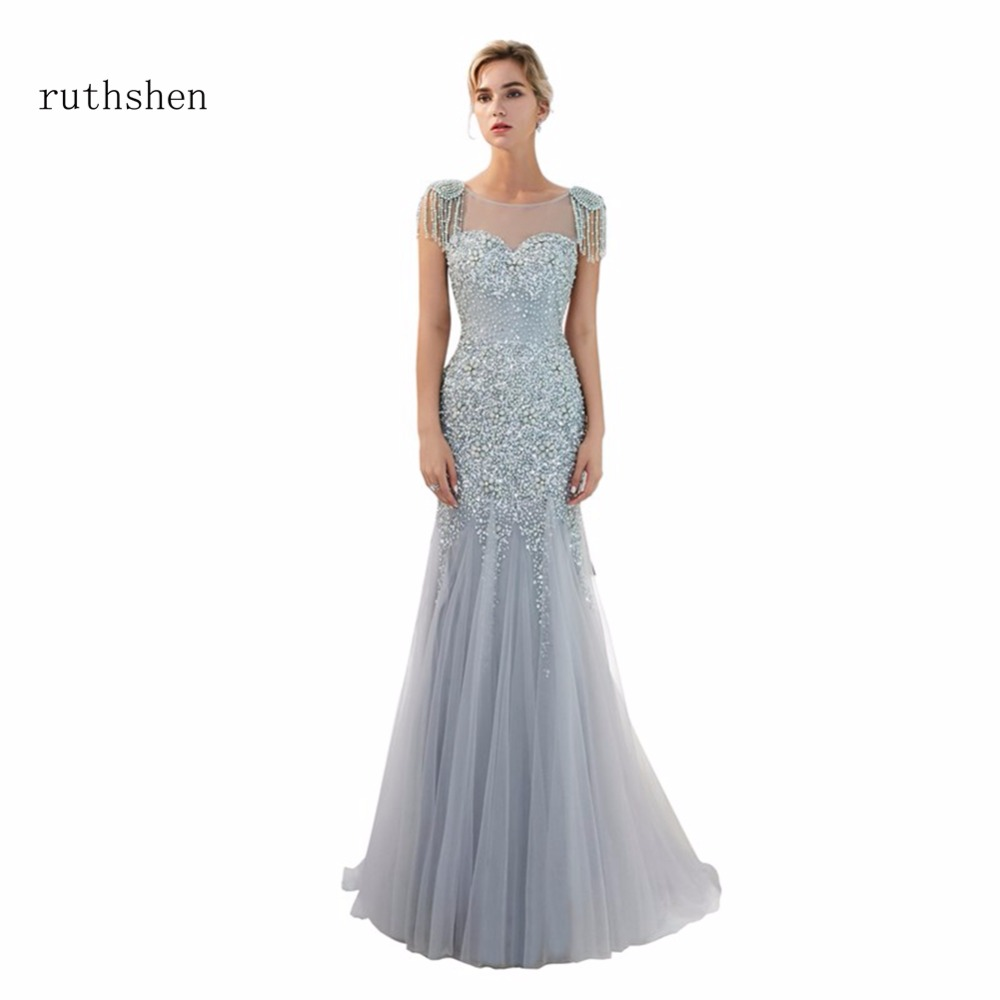 ruthshen Sexy Scoop Neck   Prom     Dresses   New Arrivals Short Cap Sleeves Beads Mermaid Party Evening Gowns Gold Formal   Dress   2018